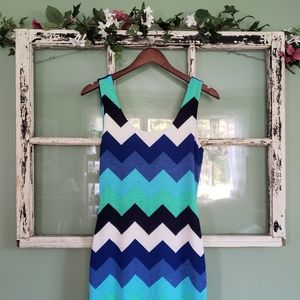 Estam Blue Teal White Black Chevron Dress